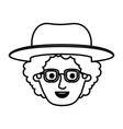 male face with glasses and curly hair and hat in vector image