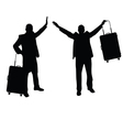 man set with travel bag silhouette in black vector image vector image