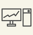 monitor with graph on the screen line icon chart vector image vector image
