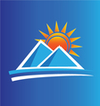 Mountains and sun logo vector image vector image