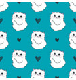 Pattern with cute white cats and hearts