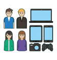 people and electronic devices vector image