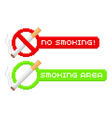 Pixel no smoking and smoking area signs vector image vector image