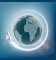plane flies around planet earth vector image vector image