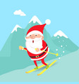santa claus moving down from mountains winter vector image