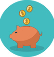 Save money concept Flat design Icon in turquoise vector image vector image