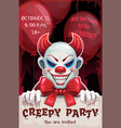 scary angry evil clown with paper banner in the vector image vector image