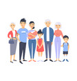 set of different asian couples and families vector image