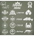 set seafood labels and signs vector image vector image