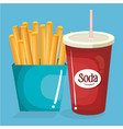 soda with french fries fast food menu vector image