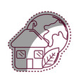 sticker house with leaf and earth planet