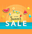 summer sale banner with fruits vector image vector image