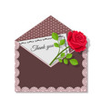 thank you card and rose flower on dark envelope vector image