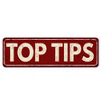top tips vintage rusty metal sign vector image vector image