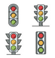 traffic lights icons set line color vector image vector image