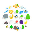 tropical nature icons set isometric style vector image vector image