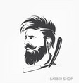vintage barber shop emblem label badge with beard vector image
