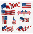 waving american flag set pride and democracy vector image