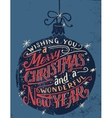 Wishing you a Merry Christmas hand lettering vector image