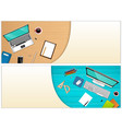 workplace office with a laptop and office vector image vector image