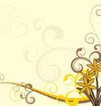 yellow flowers ornate background vector image vector image