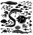 set of handdrawn underwater wildlife vector image