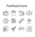 Fastfood and streetfood icons set vector image
