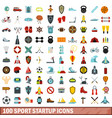 100 sport startup icons set flat style vector image vector image