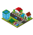 3d design for village with buildings and road vector image vector image