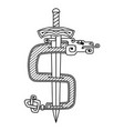 a dollar sign in the celtic style vector image