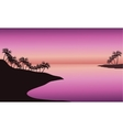 beach at sunset silhouette vector image vector image