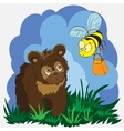 Beautiful card with little bear and bee vector image vector image