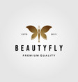 beauty flying woman vintage butterfly logo design vector image