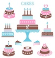 Birthday and wedding cakes vector image