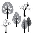 black white gray trees vector image