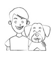 boy with cute dog vector image vector image