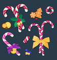 christmas candy canes with bows and decorations vector image vector image