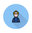 coal miner icon on round background vector image vector image