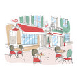colored drawing of summer sidewalk cafe vector image vector image