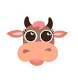 cute brown cow smiling face with big eyes flat vector image