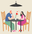 cute couple siting in a cafe vector image