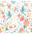 Cute seamless pattern with birds and flowers vector image vector image