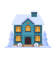cute snowy house two storey cottage building with vector image