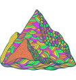 doodle mountain psychedelic colored cartoon art vector image vector image