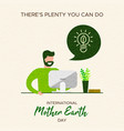 earth day card of man learning about environment vector image vector image