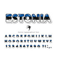 estonia cartoon font estonian national flag vector image vector image