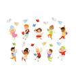 flat set cartoon children characters vector image vector image