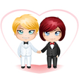 Gay Grooms Getting Married 3 vector image vector image