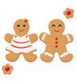 gingerbread man and woman decorated colored icing vector image vector image