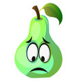 green pear cartoon face sad on white background vector image vector image
